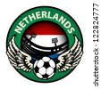 Label with football and name Netherlands, vector illustration - stock vector