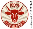 Label with the head of a cow, vector illustration - stock vector
