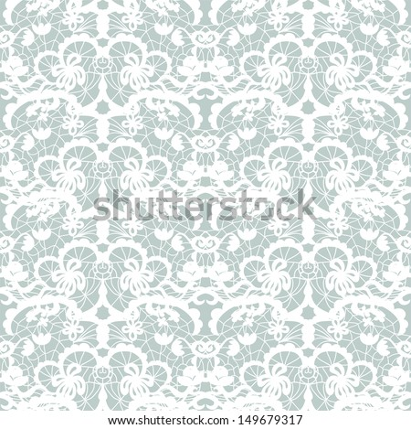 Lace seamless pattern with flowers. Lace seamless pattern with flowers on blue background.