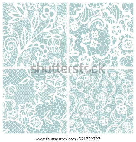 Lace seamless patterns with flowers on beige background