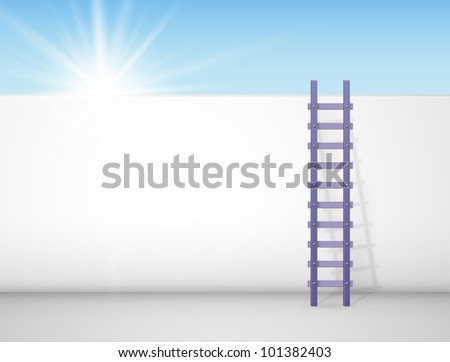 Ladder against a wall, behind which the sun shines brightly. Eps 10