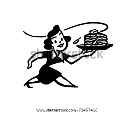 Lady With Hotcakes Retro Ad Art Illustration Stock Vector