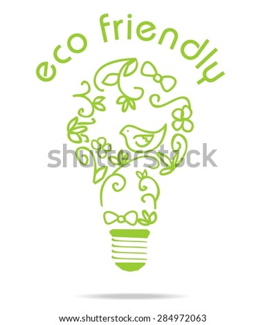 Lamp bulb with decoration inside it. Floral design. Vector