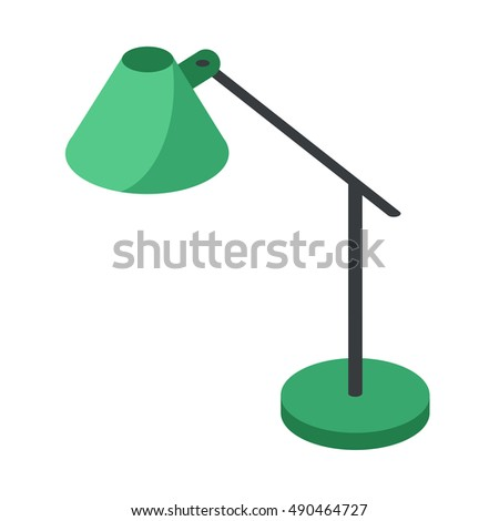 Lamp energy interior equipment lantern sign.modern table lamp with a high foot vector illustration of an isometric view isolated on white background
