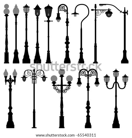 Vintage Streetlights Black Silhouettes Set Vector Stock