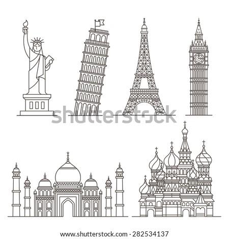 World Landmark Icon Set Stock Vector 119426689 Shutterstock