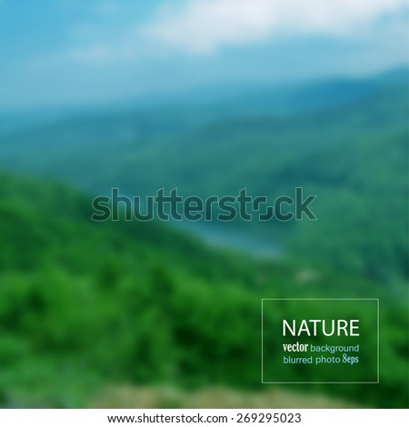 Landscape blurred photo background. Vector illustration