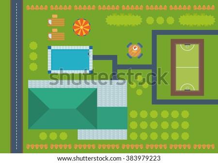 Plan landscape garden stock vector 73237405 shutterstock for Pool design elements