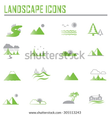 Set golf club logo design flat stock vector 563002381 for Landscape design icons