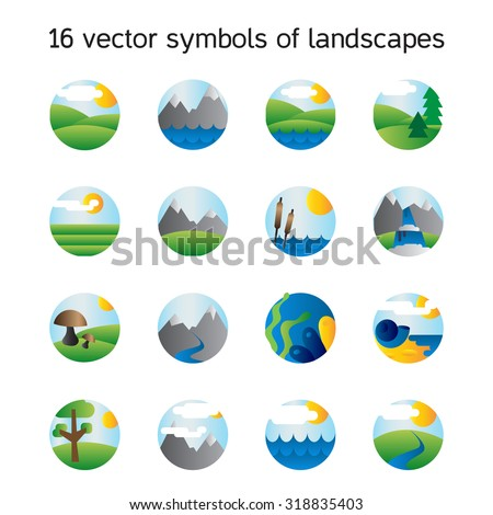 Landscape icons collection.  Nature symbols and paysages in round form. Vector