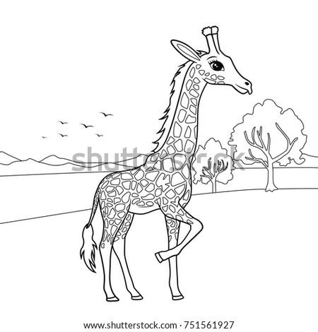 Landscape Of Giraffe Illustration For Coloring Book
