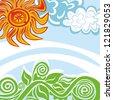 Landscape sun sky - stock vector