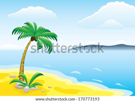 Landscape with beach and palm