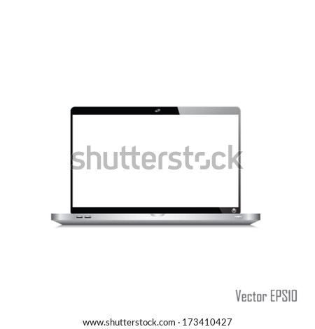 Laptop icon vector isolated, computer internet and technology communication concept, copy space on screen, icon
