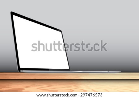 Laptop with blank screen on wooden desk - vector illustration eps 10