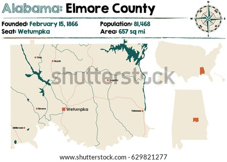 Large Detailed Map Randolph County Alabama Stock Vector 658047655