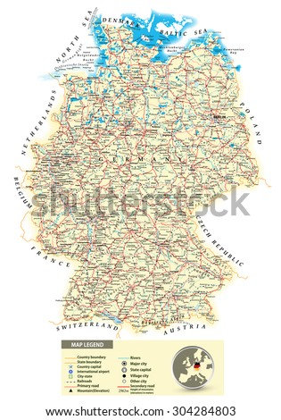 Highly Detailed Political Map Germany Administrative Stock Vector - Germany map detailed
