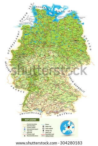 Large Detailed Road Map Germany All Stock Vector - Germany map airports