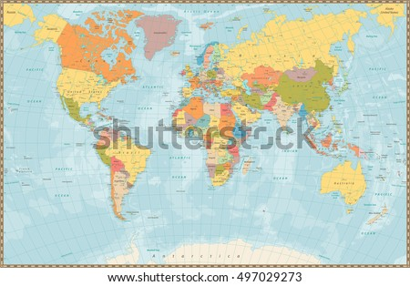 World Map Vector High Detailed Illustration Stock Vector - World map with
