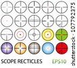 Large EPS10 Vector crosshairs set including colour reticles and night vision - stock vector