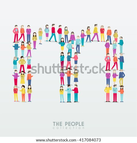 Large Group People Alphabet M Form Stock Vector 417320479 ...