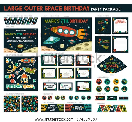 Large Outer Space Birthday Party Package Set. Printable. Invitation Included - 16 Items