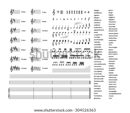 Large set of all music signs, keys, tonality and note staves for note transcription isolated on white