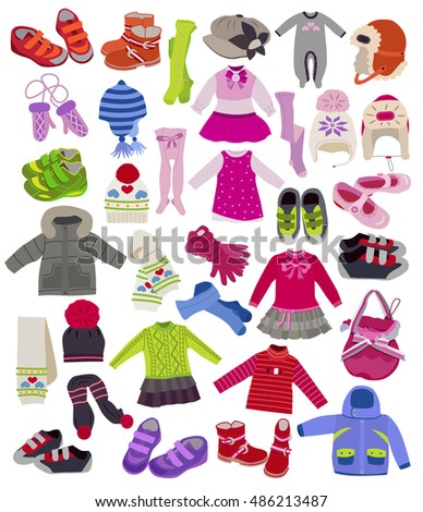 Large set of fashion children's clothes isolated on white background  (vector illustration, coloring book)