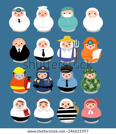 Large set of professional career people in matryoshka doll shape.