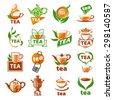 large set of vector logos tea