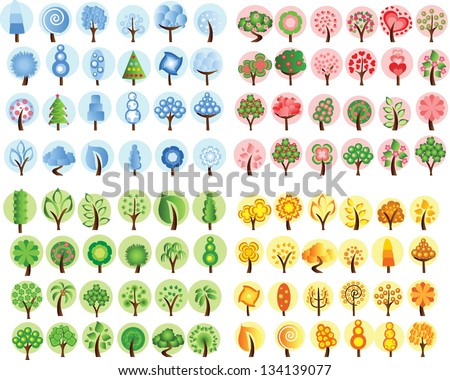 Large set of winter, spring, autumn, summer trees, the vector