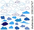 Large Vector Collection of Cloud Symbols - stock vector