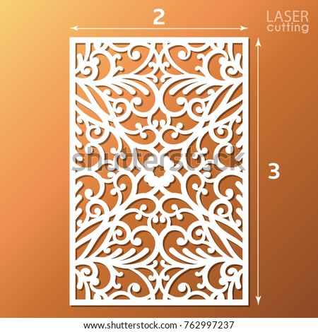 Laser cut ornamental panel pattern template stock vector 715610128 laser cut ornamental panel with pattern template of wedding invitation or greeting card cabinet stopboris Images