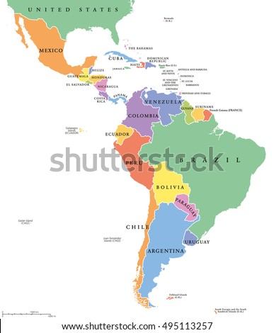 Latin America Countries Political Map National Stock Vector - Map of southern us and mexico
