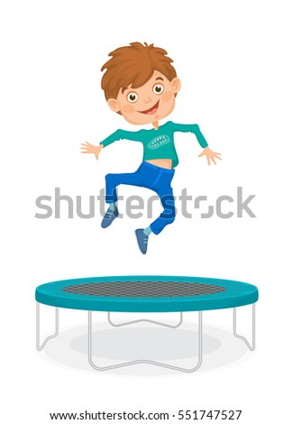 Laughing boy in blue jeans and a green shirt jumping on a trampoline.