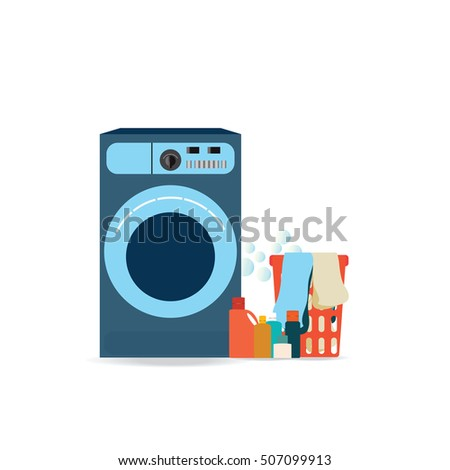 Laundry room with washing machine, facilities for washing, washing powder and basket ,Flat design style vector illustration.