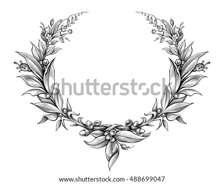 laurel wreath vintage Baroque  frame border monogram floral heraldic shield ornament leaf scroll engraved retro flower pattern decorative design tattoo black and white vector