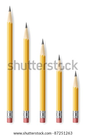 Lead pencils various length on white background.