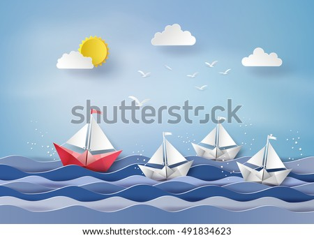 leadership concept with origami made red and white sailing boat.paper art style.