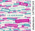 LEADERSHIP. Word cloud illustration. Graphic tag collection. Vector concept collage.  - stock vector