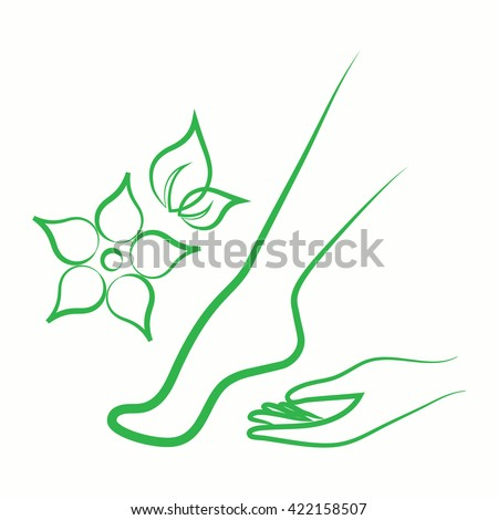 leaf flower in the hand body care icon green thin line