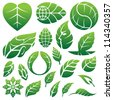 leaf icons logo and design elements - stock photo