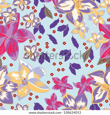 Leafs and flowers - seamless pattern