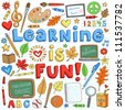 Learning is Fun Back to School Classroom Supplies Notebook Doodles Hand-Drawn Illustration Design Elements on Lined Sketchbook Paper Background - stock vector