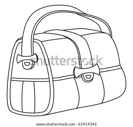 Leather bag with wide belts and metal fasteners, contours