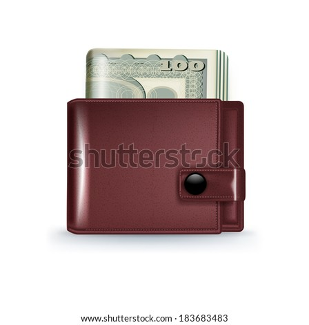 leather wallet with money bills isolated on white