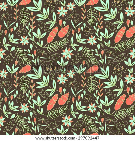 Leaves, pine tree branches and flowers on brown background. Decorative floral seamless pattern