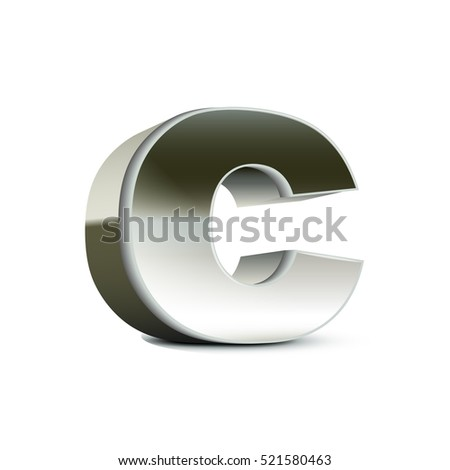left tilt steel letter C, 3D illustration graphic isolated on white background