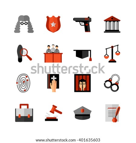 Legal law symbols flat icons collection with bible oath and court jury conviction verdict abstract isolated vector illustration