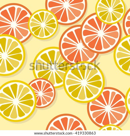 Lemon and grapefruit slices seamless pattern